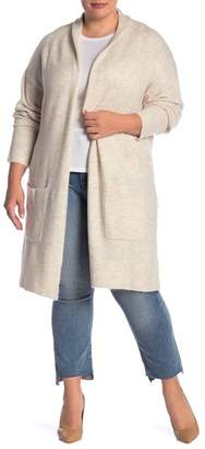 Susina Knee Length Shawl Collar Cardigan (Plus Size)