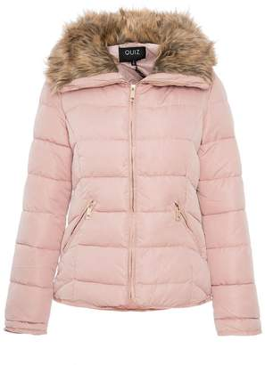 Quiz Pink Padded Faux Fur Collar Short Jacket