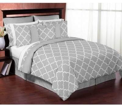 Sweet Jojo Designs Trellis King 3-Piece Comforter Set in Grey/White