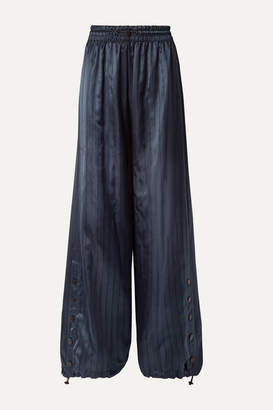 Monse Snap-embellished Pinstriped Satin Wide-leg Pants - Navy