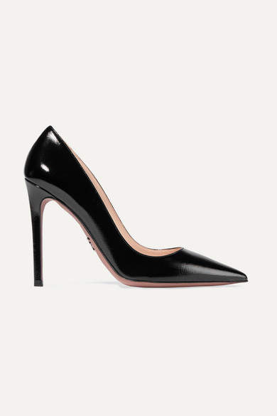 Prada - Glossed Textured-leather Pumps - Black