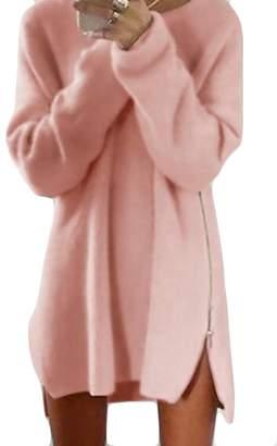 JXG-Women Casual Long Sleeve Loose Tunic Side Zipper Knit Sweater Dress USL