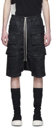 Rick Owens Black Denim Wax Creatch Cargo Pods Shorts