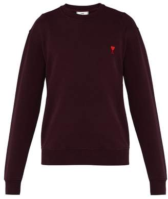 Ami Heart Logo Cotton Sweatshirt - Mens - Dark Purple