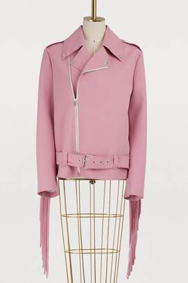 MSGM Fringed biker jacket