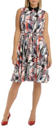 NEW Trent Nathan Printed Sleeveless Shirt Dress Orange