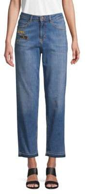 Love Moschino High-Rise Love Hate Plaque Jeans