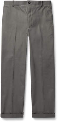 Thom Browne Grey Cropped Cotton-Twill Trousers