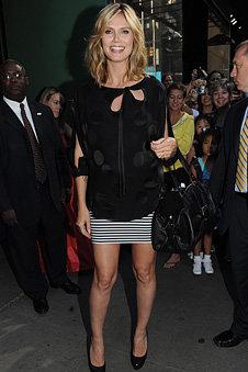 Pleasure Doing Business Small Stripe Mini Skirt as seen on HEIDI KLUM