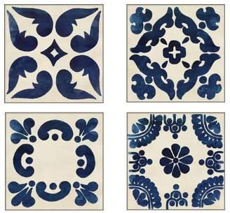 Pottery Barn Indigo Tiles Framed Print