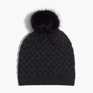 J.Crew Knit hat with faux-fur pom-pom