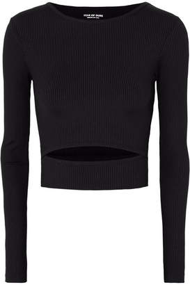Year of Ours - Club Cropped Cutout Ribbed Stretch Top - Black