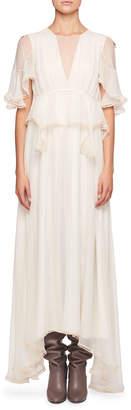 Chloé High-Neck Flutter-Sleeve Evening Gown w/ Scalloped Edges
