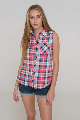Ardene Sleeveless Plaid Button-Down Shirt