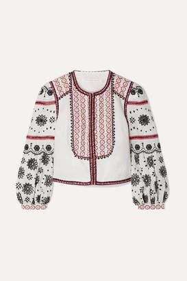 Veronica Beard Shilin Embellished Broderie Anglaise Linen Jacket - White
