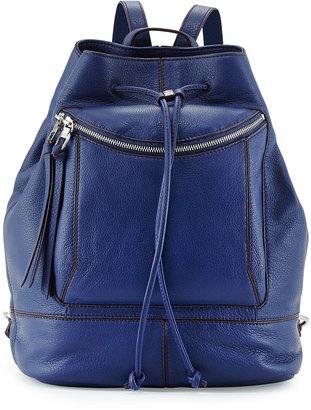 Kooba Steinbeck Leather Drawstring Backpack, Washed Denim $244 thestylecure.com