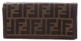 Fendi Leather-Trimmed Zucca Canvas Wallet