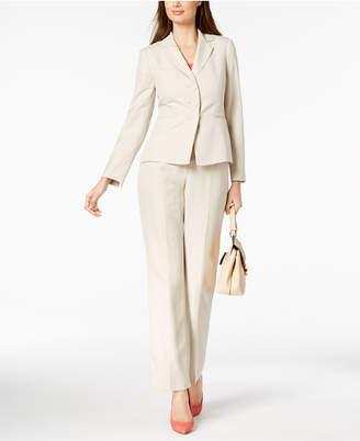 Le Suit Striped Three-Button Notch Lapel Pantsuit, Regular & Petite