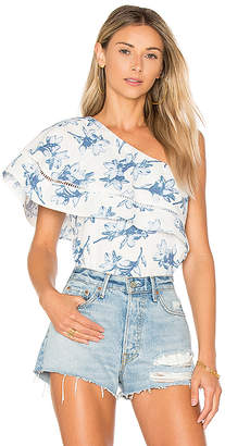 J.O.A. Flower Print One Shoulder Top in White $75 thestylecure.com