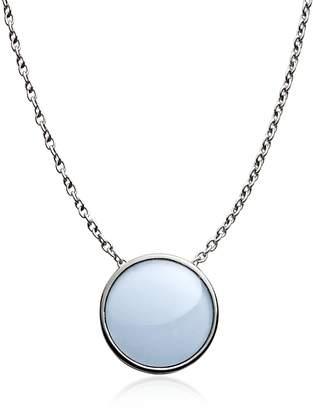 Skagen Sea glass Silver Tone Pendant Necklace