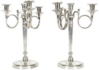 One Kings Lane Vintage Silver-Plated 4-Arm Candelabra - Set of 2 - La Maison Supreme