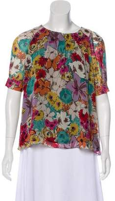 Etro Silk Floral Short Sleeve Top