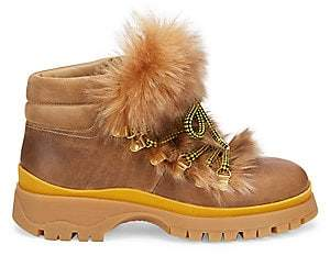 Prada Women's Shearling-Trim Leather Ankle Hiker Boots