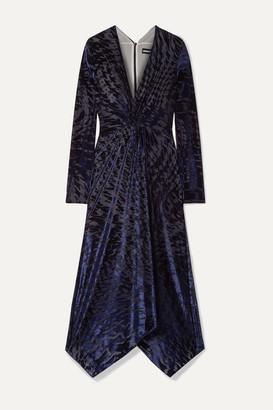 House of Holland Knotted Stretch Devore-velvet Midi Dress - Midnight blue