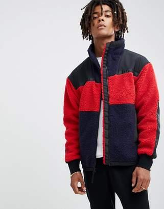 Billionaire Boys Club panelled sherpa fleece jacket in red