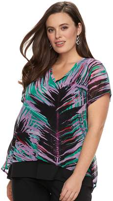 Dana Buchman Plus Size Mixed Media Top