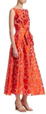 Lela Rose Bow-Front Boatneck Dress