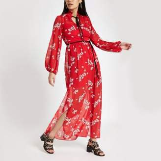 River Island Womens Red floral tie neck maxi dress