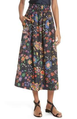 Tibi Print Tech Floral Skirt