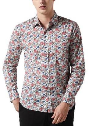Unique Bargains Men Long Sleeve Button Down Tropical Shirt, Bird Print