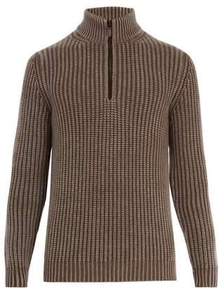 Iris von Arnim High-neck half-zip ribbed-knit cashmere sweater