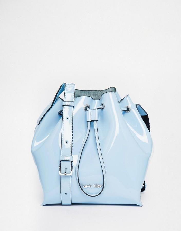 Calvin KleinCalvin Klein Drawstring Bucket Bag in Patent Pastel Blue