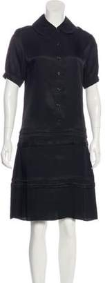 Celine Pleated Knee-Length Dress w/ Tags Black Pleated Knee-Length Dress w/ Tags