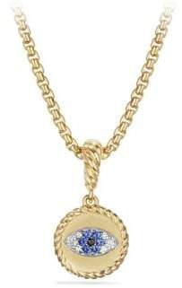 David Yurman 18K Yellow Gold Diamond& Sapphire Evil Eye Charm