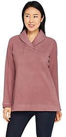 Denim & Co. Chenille Fleece Long Sleeve ShawlCollar Top