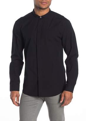 John Varvatos Collection Wire Collar Solid Slim Fit Shirt