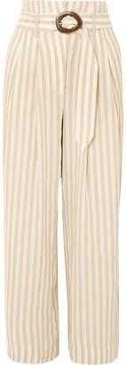 Nanushka - Nevada Striped Cotton And Linen-blend Wide-leg Pants - Beige