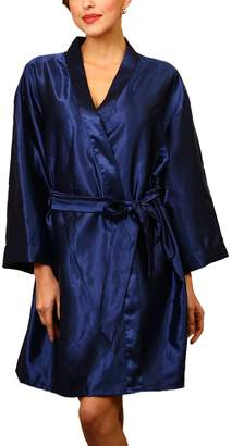a7b070e47e Assky Unisex Lightweight Satin Sleep Robe Kimono Gown