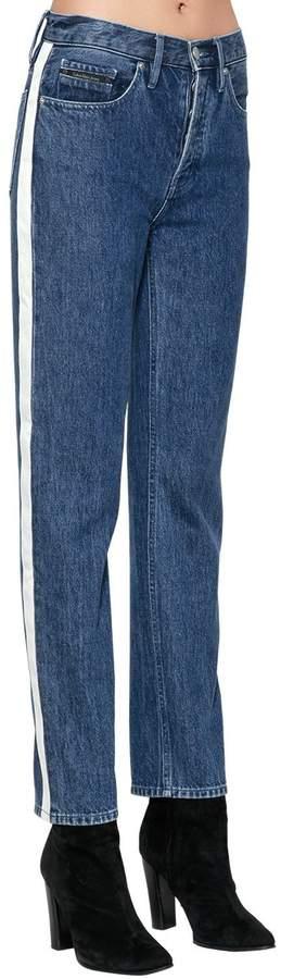 Hochtaillierte Jeans Aus Denim Mit Seitenstreifen