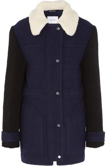 CarvenCarven - Faux Shearling-trimmed Wool-blend Felt Coat - Navy