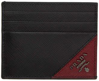 Prada Black and Red Saffiano Logo Card Holder