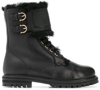 Salvatore Ferragamo fur trim military boots