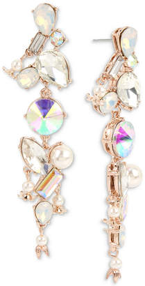 Betsey Johnson Rose Gold-Tone Crystal & Imitation Pearl Linear Drop Earrings