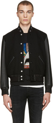 Saint Laurent Black Teddy America Bomber Jacket $2,590 thestylecure.com