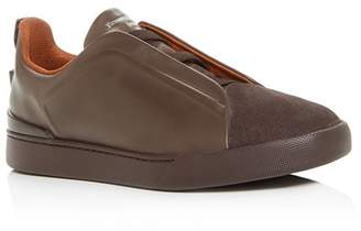 Ermenegildo Zegna Men's Triple-Stitch Leather & Suede Slip-On Sneakers