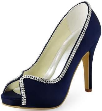 Elegantpark EP11083-IP Women Peep Toe Platform Satin Rhinestones Prom High Heel Evening Party Shoes US 9